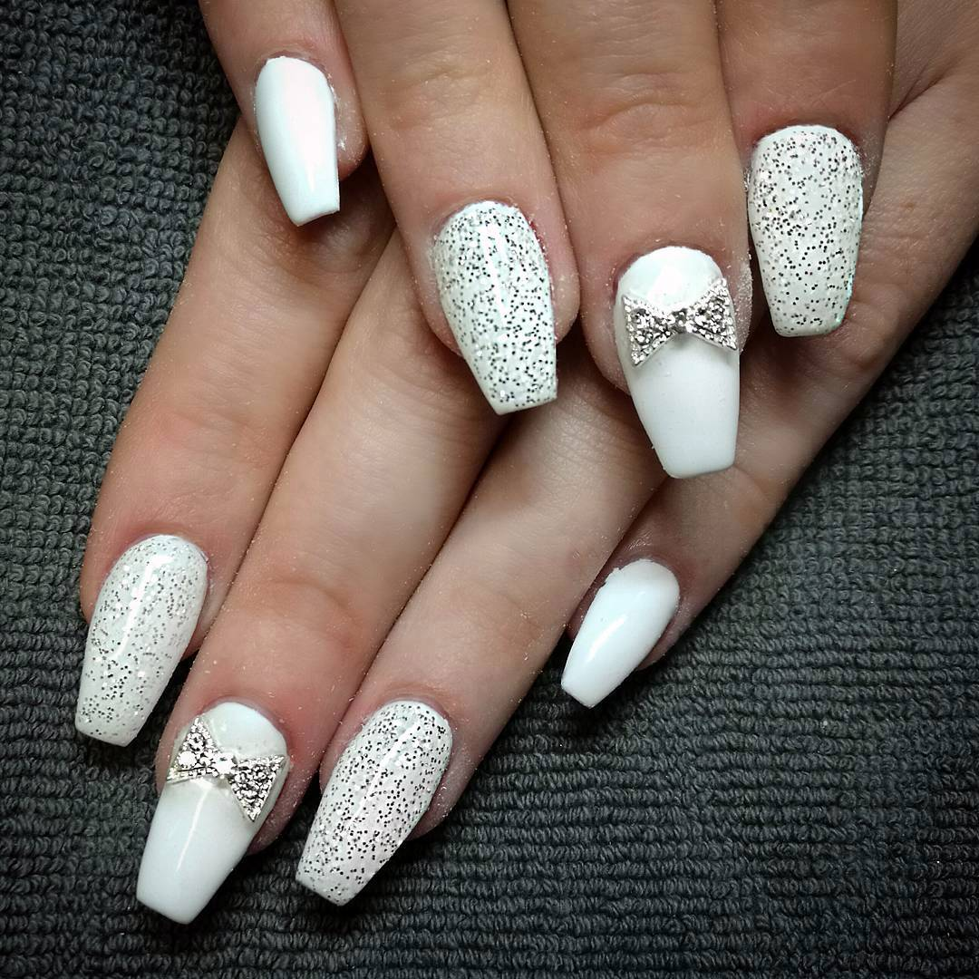White coffin nails , New Expression Nails