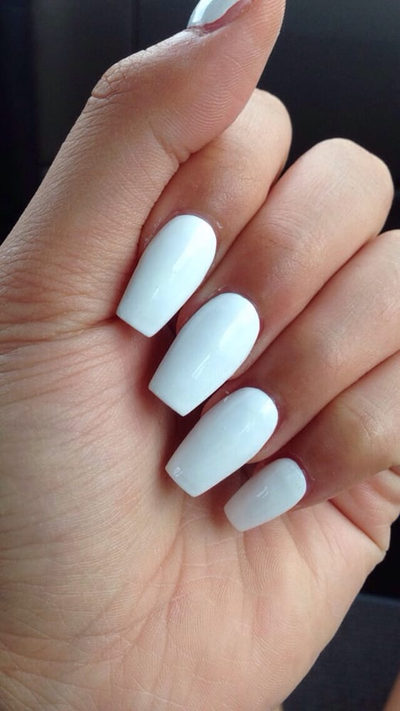 White coffin nails - Expression Nails