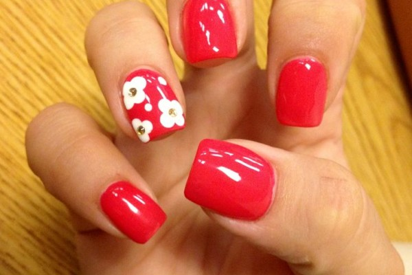 white gel nails with flower gems photo - 1
