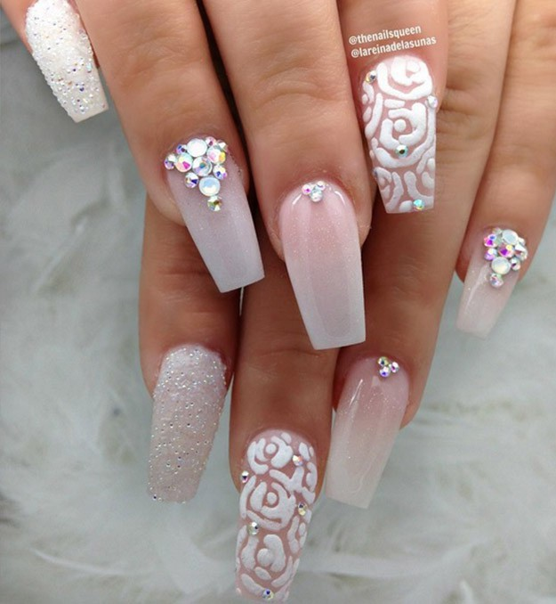 white gel nails with gold triangle nail gems photo - 2