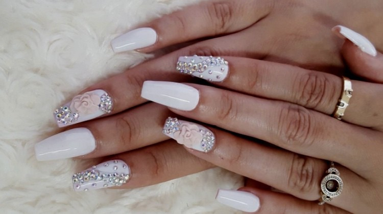 white gel nails with yellow trianglenail gems photo - 2