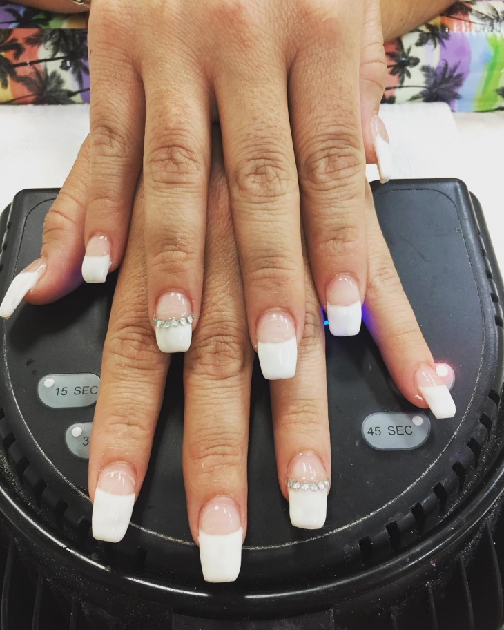 White tip coffin nails - Expression Nails