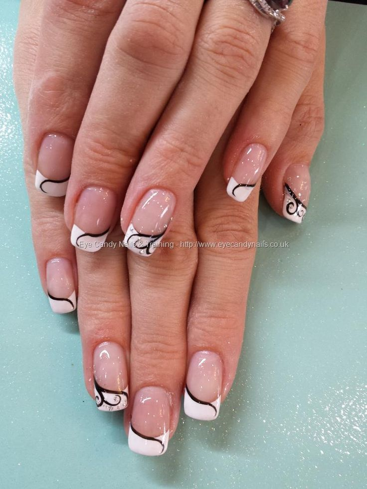 white tip gel nails with designs photo - 2