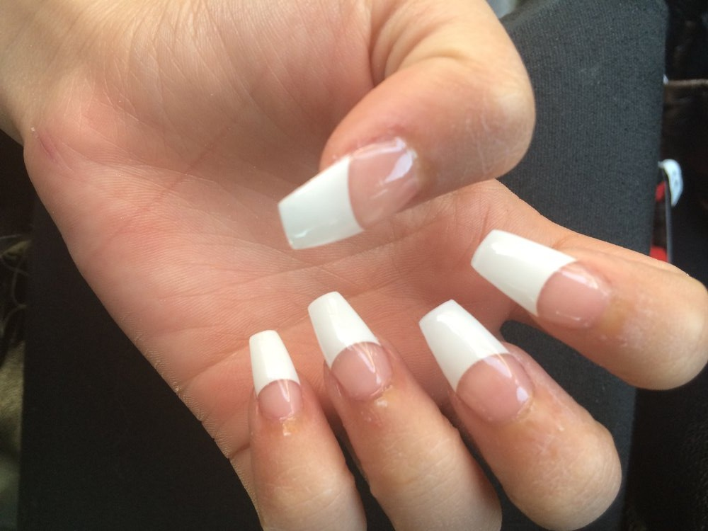 White tip nails coffin - Expression Nails