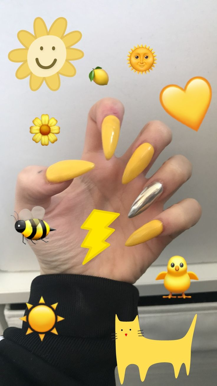 yellow and blue stiletto nails photo - 1
