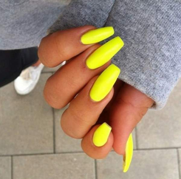 Yellow Nails Coffin New Expression Nails