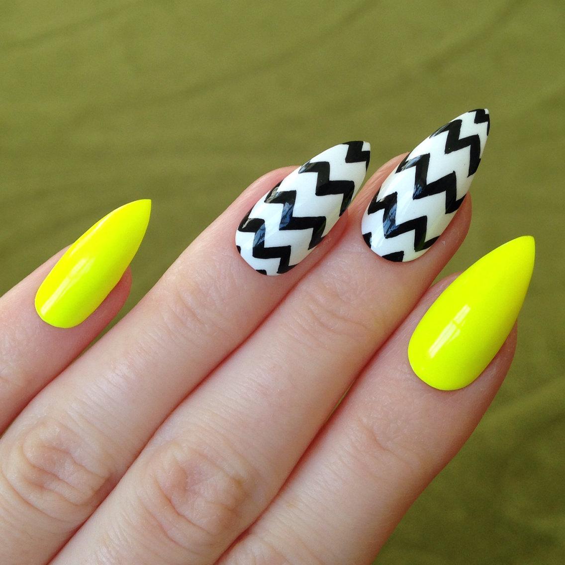 yellow stiletto nails photo - 2